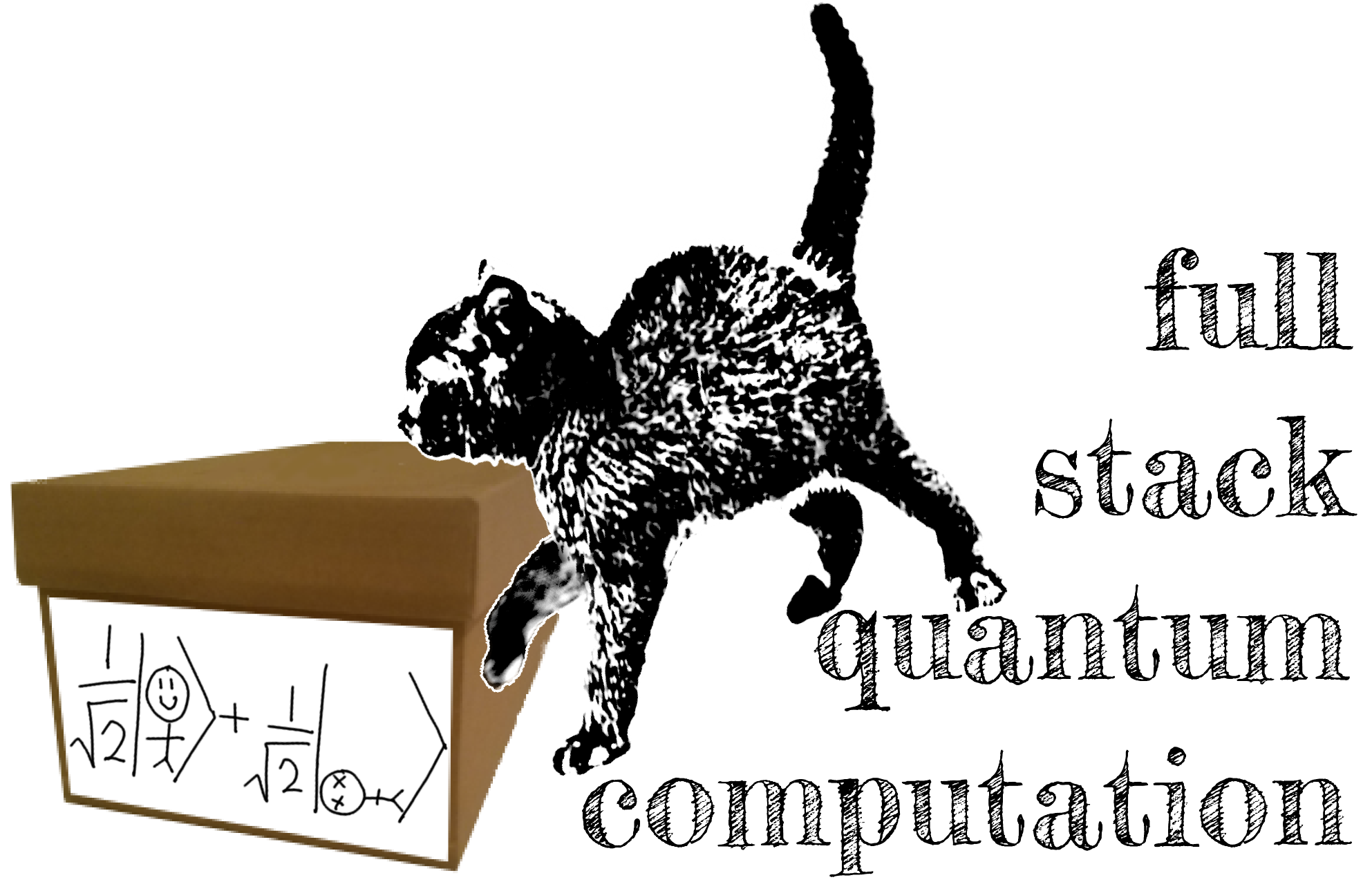 schrodingers cat alternate universe full stack quantum computation black cat human half dead half alive superposition logo