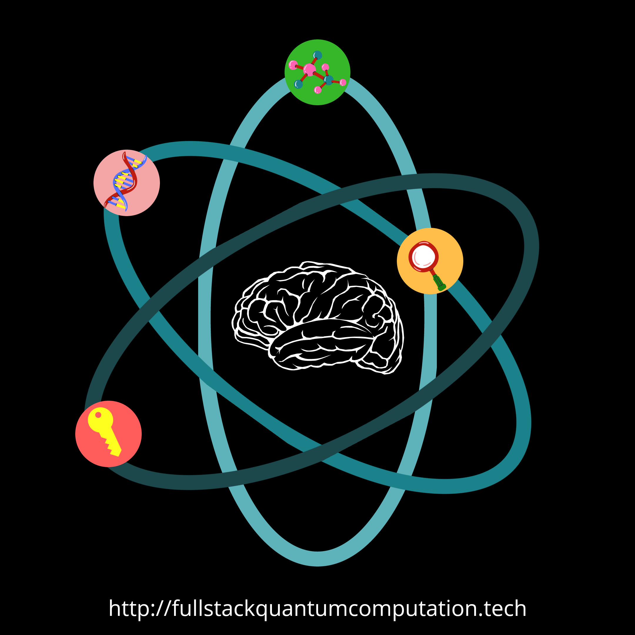 atom brain learning key logo
